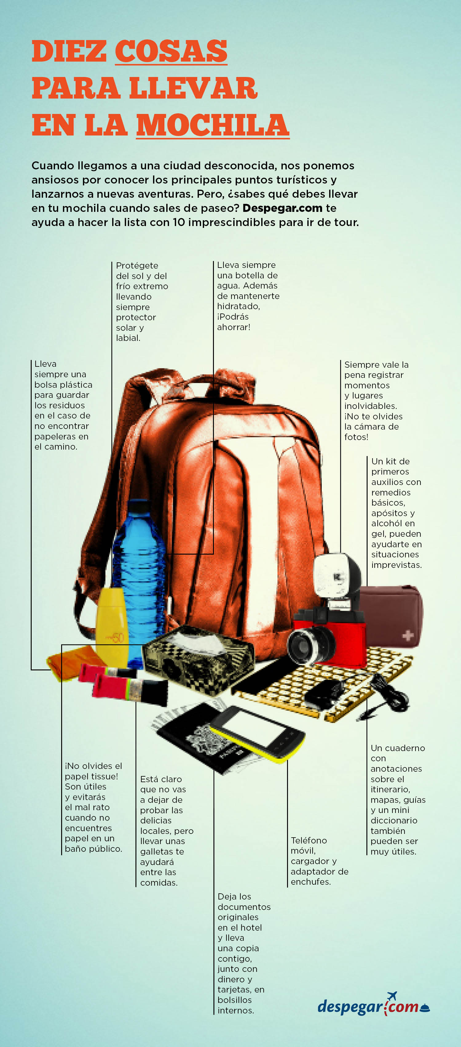 10 cosas para llevar en la mochila